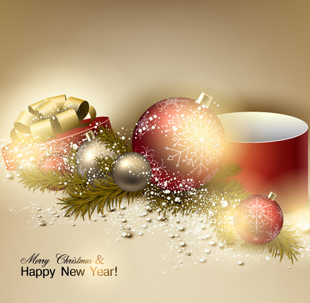Beautiful Christmas background with red and golden balls.  Golden Xmas baubles, gifts and fir branches. Vector Vector