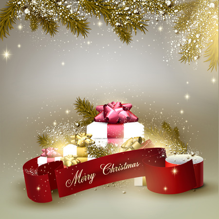 Christmas background with gifts. Xmas boxes with bows and place for text.  Vector Illustration. Vector