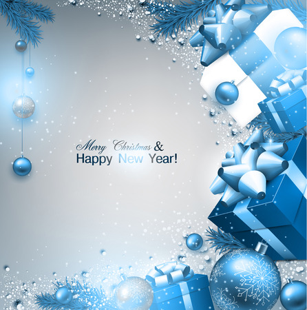 Christmas background with fir twigs, gifts and blue balls. Xmas baubles.Vector illustration. Çizim