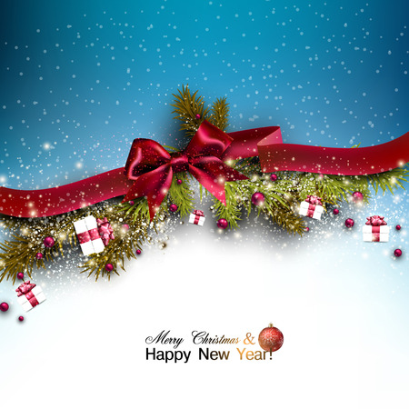 Christmas background with fir twigs garland and Xmas balls. Red bow. Vector illustration. Çizim