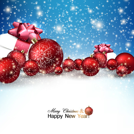 Beautiful Christmas red balls and gifts on snow.  Red Xmas baubles. Vector
