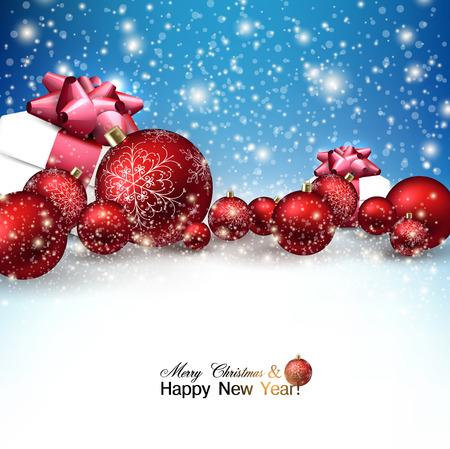 Schöne Weihnachten roten Kugeln und Geschenken auf Schnee. Rote Weihnachtskugeln. Vektor Illustration