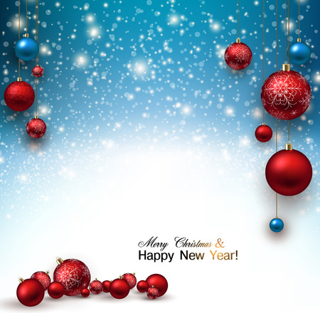 Christmas background with Red christmas balls and snow for xmas design. Vector illustration. Çizim