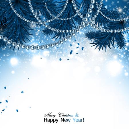 Elegante fondo de Navidad con la guirnalda azul y estrellas. Ilustración vectorial