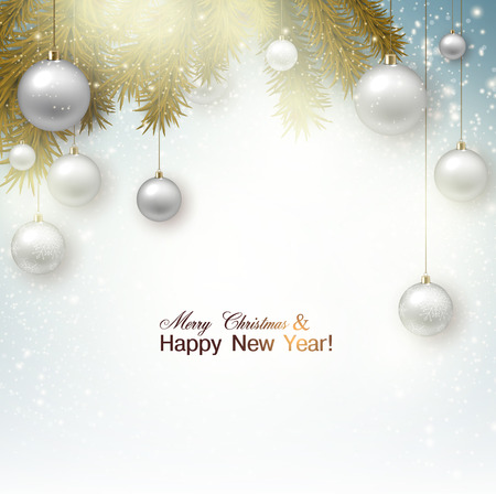 Christmas background with balls. White Xmas baubles. Vector Vector
