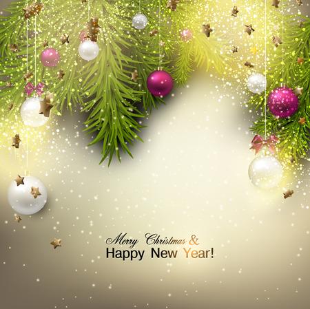 Weihnachten Hintergrund mit Kugeln. Bunte Weihnachtskugeln. Vektor