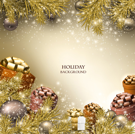 Christmas background with gifts. Xmas boxes with bows and place for text.  Vector Illustration.