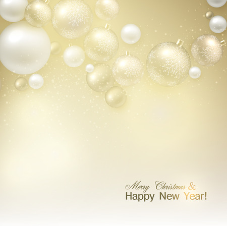 Elegant shiny Christmas background with golden baubles and place for text. Vector Illustration.