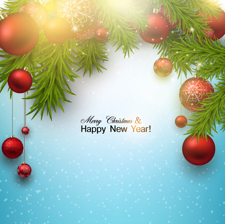 Christmas background with red balls and green branches. Red Xmas baubles. Vector Vector