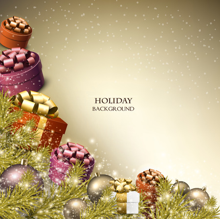 クリスマス プレゼントの背景。クリスマス ボックスの弓とテキストのための場所です。ベクトル イラスト。