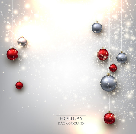 Elegant shiny Christmas background with baubles and place for text. Vector Illustration.