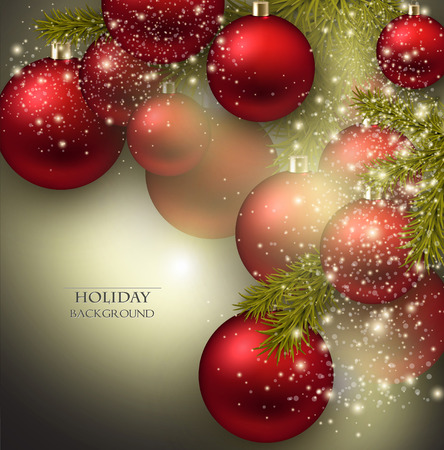Christmas background with balls. Red Xmas baubles. Vector Vector