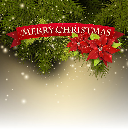 Christmas background with fir branches and red banner Merry Christmas! Vector