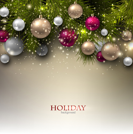 a holiday greeting: Christmas background with balls. Colorful Xmas baubles. Vector