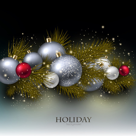 Christmas background with balls. Xmas baubles. Vector Vector