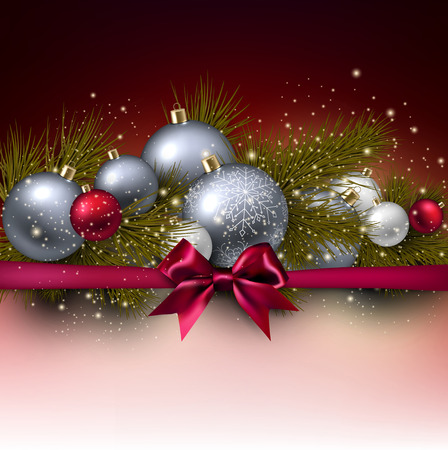 fir twig: Christmas background with balls and fir twig. Colorful Xmas baubles. Vector