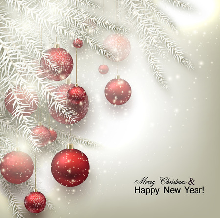 Christmas background with balls. Illustration