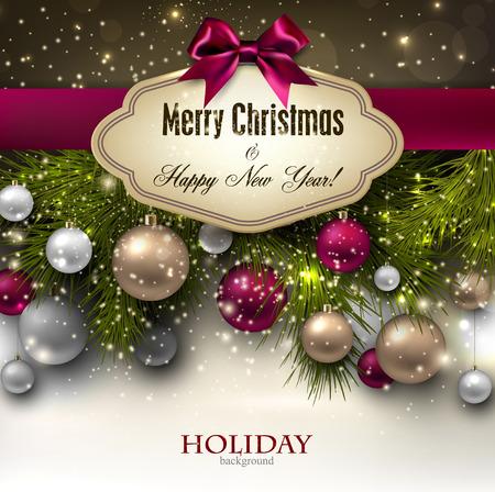 Wunderschöne Weihnachten Geschenkkarte mit Band und Weihnachtskugeln.