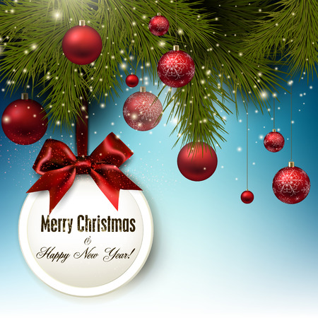 Christmas gift card with red ribbon and red Christmas baubles. Vector