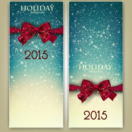 holiday celebrations: Greeting cards with red bows and copy space.