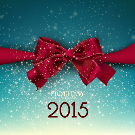 Gorgeous blue background  with red bow and copy space. Vector