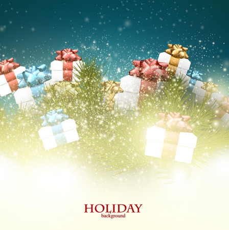 Christmas background with gifts. Xmas boxes with bows and place for text.   Vector