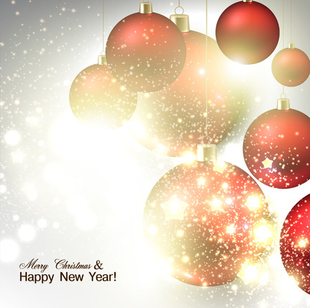 Christmas background with Red christmas balls and stars for xmas design.  Vector