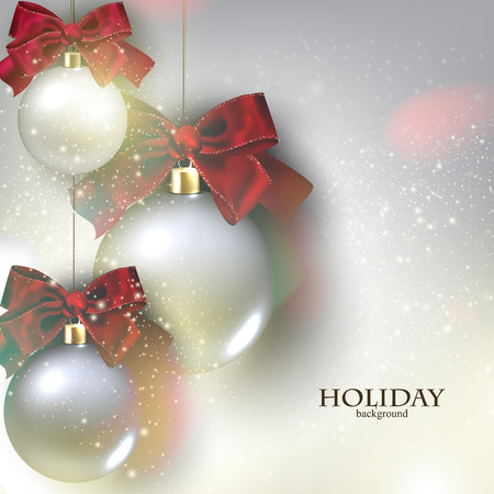 Christmas background with balls.  Xmas baubles. Vector