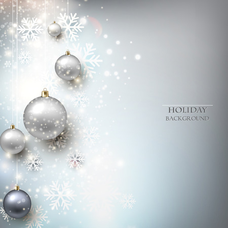 place for the text: Elegant shiny Christmas background with baubles and place for text. Vector Illustration.