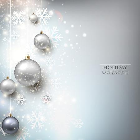for text: Elegante sfondo lucido Natale con palline e luogo per il testo. Illustrazione vettoriale. Vettoriali