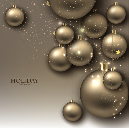 Christmas background with balls. Golden Xmas baubles. Vector Vector