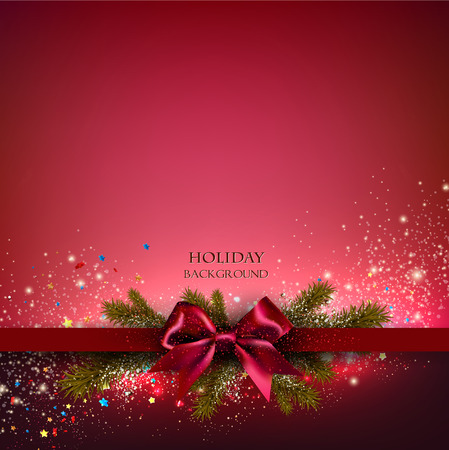 Christmas background with red bow and fir twigs garland. Vector illustration.