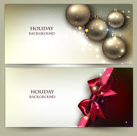 Christmas banners. Golden Xmas baubles. Vector set Vector