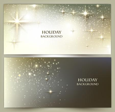 Conjunto de banners Elegant Navidad con las estrellas. Ilustración vectorial