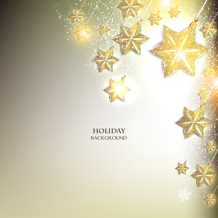 parties: Elegant Christmas background with stars garland. Vector illustration