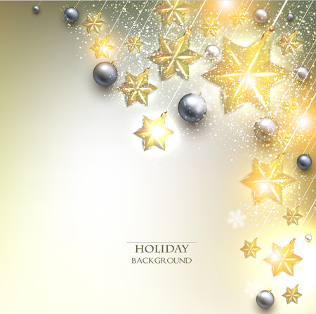 Elegant Christmas background with stars garland. Vector illustration Vector