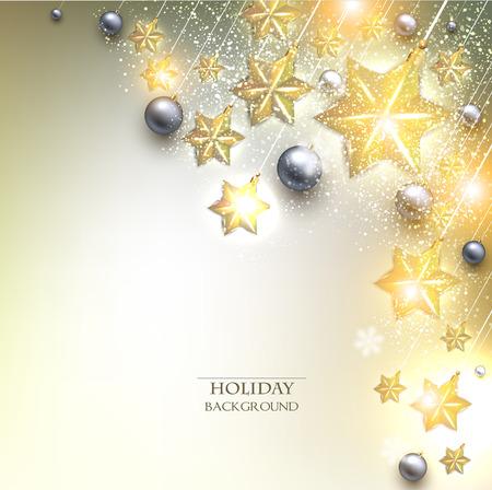 Elegant Christmas background with stars garland. Vector illustration