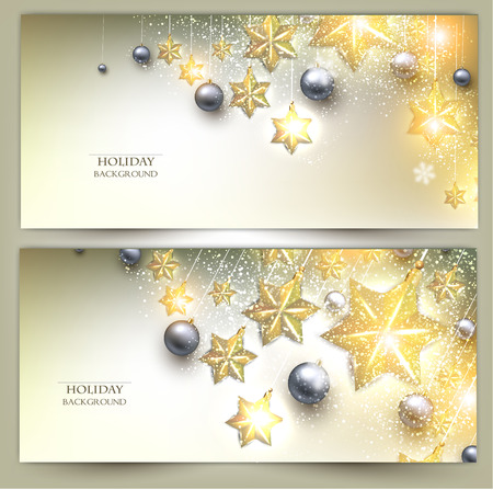 Set of Elegant Christmas banners with stars. Vector illustration Vector