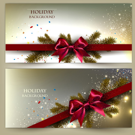 Elegant Christmas banner set. Golden backgrounds with red ribbons. Vector Vector