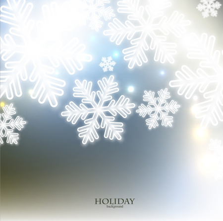 White defocused snowflakes on glow background. Christmas abstract background. Vector illustration Vector