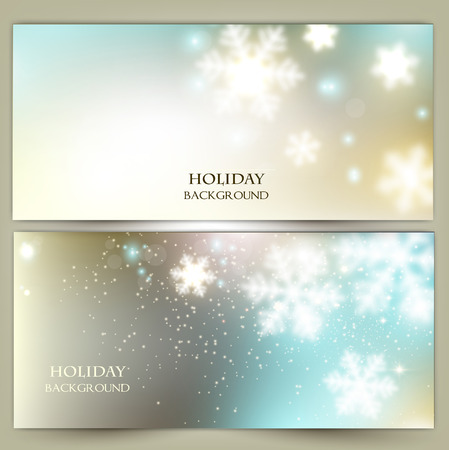 frosting: White defocused snowflakes on glow background. Christmas banners. Vector illustration