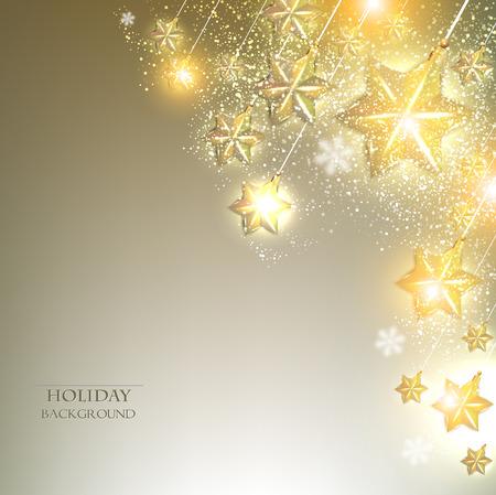 Elegant Kerst achtergrond met sterren krans. Vector illustratie Stock Illustratie