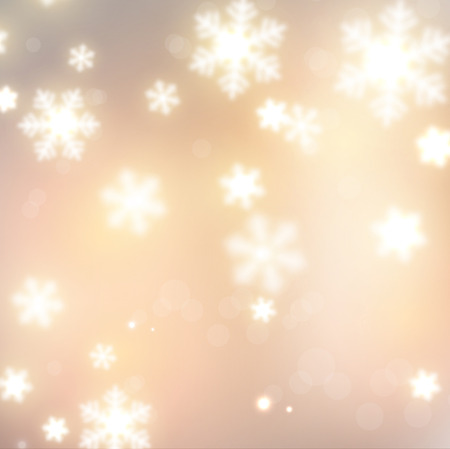 White defocused snowflakes on glow background. Christmas banners. Vector illustration