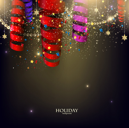 welcoming party: Colorful confetti and ribbons. Holiday background with stars