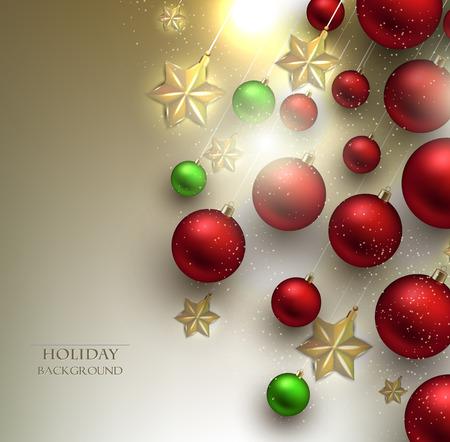 Christmas background with balls. Golden Xmas baubles. Vector Vector