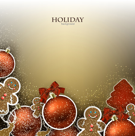 decoration elements: Christmas background with  Christmas toys, balls and  stars. Xmas Decoration Elements for design.