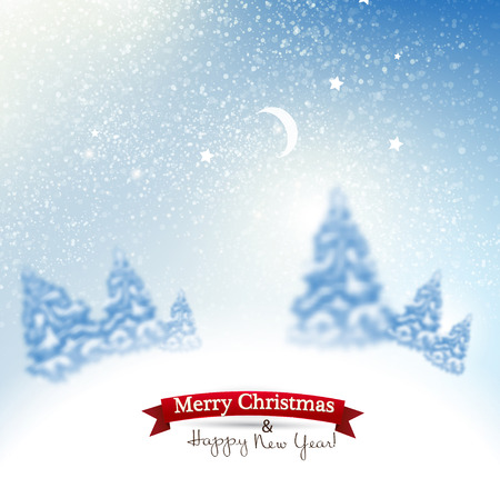 rime: Beautiful Christmas background with blurred Christmas trees. White winter landscape. Starry sky. Vector Illustration