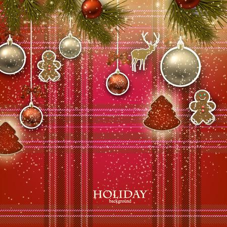 Kerst achtergrond met Kerst speelgoed, ballen en sterren. Xmas Decoratie Elementen voor ontwerp.