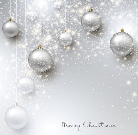 a holiday greeting: Elegant shiny Christmas background with baubles and place for text. Vector Illustration.