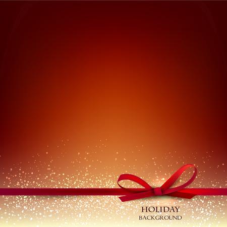 エレガントなクリスマス赤背景赤い弓とテキストのための場所。ベクトル イラスト。